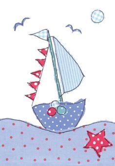 Sail Away applique Freehand Machine Embroidery, Free Motion Embroidery, Free Machine Embroidery, Free Motion Quilting, Sewing Appliques, Applique Patterns, Applique Designs, Baby Applique, Fabric Postcards