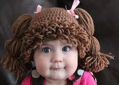 """Have you ever dreamed of having a life sized Cabbage Patch Kid? Now you can with this Cabbage Patch Kids Hat that will turn your child into the big cheeked, adorable Cabbage Patch Kid we all remember!"" Cutest Halloween idea ever! Cabbage Patch Kids, Cabbage Patch Costume, Crochet For Kids, Free Crochet, Knit Crochet, Crochet Hats, Crochet Pony, Crochet Crown, Chrochet"