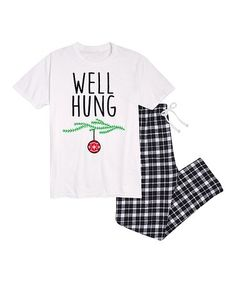 $29.99 marked down from $65! White & Black Ornament 'Well Hung' Pajama Set - Men's Regular #funny #christmas #adult #zulilyfinds