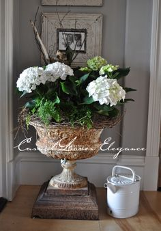 Casual Loves Elegance LOVE* this antique urn! In the foyer in our home, greats everyone year round with blooms...