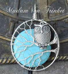 Owl Pendant with Turquoise Howlite Moon by MadamVonTrinkets
