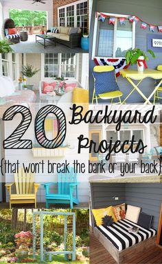 Backyard Ideas - The Seasoned Homemaker Backyard Projects, Craft Projects, Backyard Patio, Diy Patio, Garden Projects, Backyard Landscaping, Budget Patio, Project Ideas, Landscaping Ideas