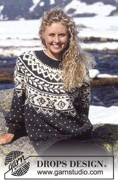 DROPS Sweater i Alaska med nordisk borter og rundt bærestykke Gratis strikkeopskrifter fra DROPS Design.
