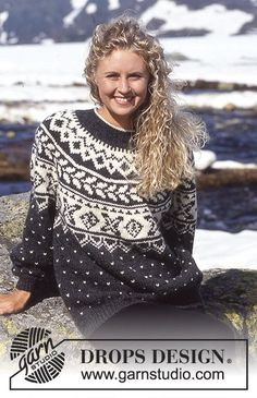 DROPS Sweater i Alaska med nordisk borter og rundt bærestykke ~ DROPS Design
