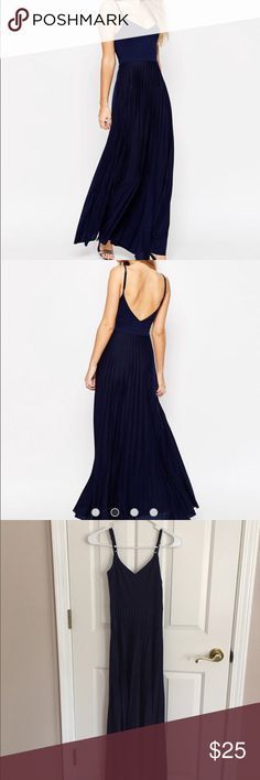 Navy blue asos maxi dress Navy blue asos maxi spaghetti strap dress with pleated skirt. NWOT. Sold out online! ASOS Dresses Maxi