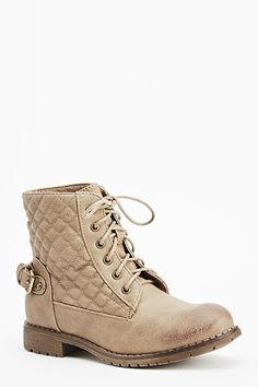 Quilted Beige Ankle Boots