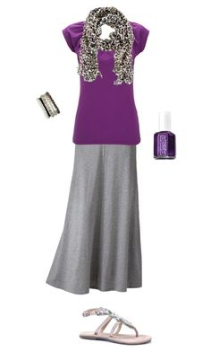 """Purple Leopard"" by lizardbeth95 ❤ liked on Polyvore featuring LC Lauren Conrad, Essie, Wallis and H&M"