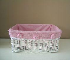 cesta de mimbre infantil rosa mediana - Como Hacer Cestas De Mimbre