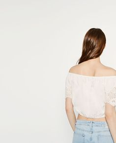 Image 4 of EMBROIDERED LINEN TOP from Zara