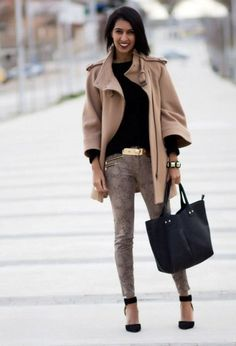 With camel mini coat, black shirt and black tote