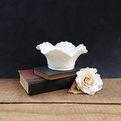 Westmoreland Milk Glass Bowl - White Ruffled Bowl - English Hobnail - Vintage by TheCherryAttic on Etsy