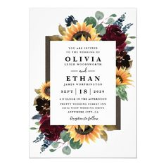 wedding invitations sunflower Sunflower and Roses Burgundy Red Navy Blue Wedding Invitation Rehearsal Dinner Invitations, Engagement Party Invitations, Wedding Invitation Design, Bridal Shower Invitations, Wedding Stationery, Invitation Wording, Invitation Ideas, Invitation Templates, Box Invitations