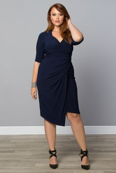 Show off your curves in our sultry plus size Foxfire Faux Wrap Dress!  Browse our entire made in the USA collection online at www.kiyonna.com.  #KiyonnaPlusYou