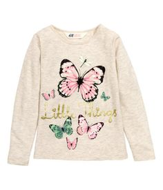 Long-sleeved top in cotton jersey with a printed motif at front.