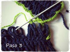 Aprender crochet - ganchillo tejer con horquilla, unión de tiras usando hilo extra tutoriales
