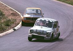 Fiat-Abarth 1000 TCR chased by an Alpina-BMW at the Touring Car Grand Prix 1969…