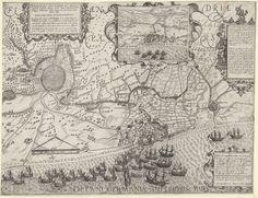Floris Balthasarsz. van Berckenrode | Tocht van het leger van Maurits naar Oostende (rechterblad), 1600, Floris Balthasarsz. van Berckenrode, Hendrick Hondius (I), Staten-Generaal, 1600 - 1601 | Tocht van het Staatse leger onder prins Maurits naar Oostende, 19-27 juni 1600. Rechterhelft van twee bladen. De Staatse vloot voor Oostende. Boven trekt het Staatse leger door Vlaanderen, om Brugge en Oostende heen in de richting van Nieuwpoort. Bovenaan cartouches met de titel, een gezicht op…
