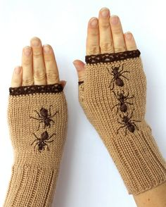 Hand Knitted Fingerless Gloves, Ribbon Embroidery, Gloves & Mittens, Accessories, For Women, Ants, Elegant, Beige, Brown, Cozy