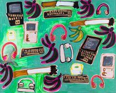 Jungle Junk (Laptops, Apple Computers, Headphones, Telephones, Cigarettes, Toilet Paper, Plantains, and Bananas), 2015   Katherine Bernhardt ‹ CANADA