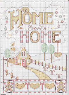 Cross-stitch Home Sweet Home ... no color chart available, just use the pattern chart as your color guide.. or choose your own colors...