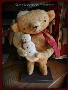 Primitive Teddy Bear holding a little snowman https://www.facebook.com/Starr-Mountain-Primitives-228548684018/timeline/