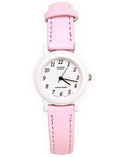 A petite Casio watch featuring a pastel pink leather band and simple white face. 