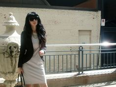 Jennifer Kaya Canadian fashion blogger www.jenniferkaya.com #fashion #cute outfit #jacket #skirt #leopard #ootd #outfit #style #business outfit #classic #elegant #dress #beige dress #jacket #heels #high heels #jewellery #necklace