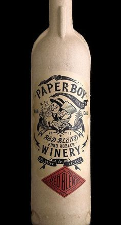 wine packaging...recycled paper. COOL!