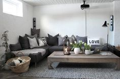 media room in Sweden via Styleroom, ceiling mounted projector 5 Favorites: Stylish Home Theaters : Remodelista