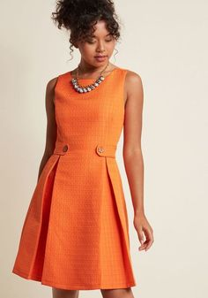 You can channel any number of fashion icons with this bright orange dress from our ModCloth namesake label! The anything-but-ordinary square texture of this. Vintage Outfits, Classy Outfits, Pretty Outfits, Vintage Fashion, Dress Outfits, Casual Dresses, Fashion Dresses, Dress Up, Dresses For Work