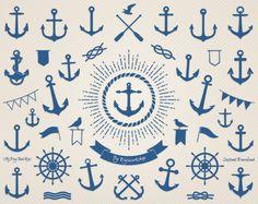 Anclaje Clip Art: Ancla gráfico náutica con por DigiWorkshop