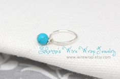 Mini hoop with Semi-Precious Gemstone Dangle, Cartilage Earring on Etsy, $16.00