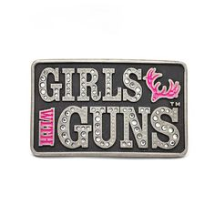 - Montana SilverSiths Buckle Antiqued pewter finish highlights the beautifully intricate details of the filigree vines fraM around the Girls with Guns trademark name and GWG logo, the glossy pink lett