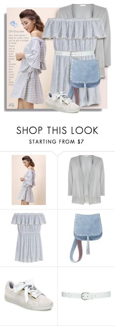 """""""OFF-SHOULDER DRESS"""" by breathing-style ❤ liked on Polyvore featuring Chicwish, Jacques Vert, H&M, Steve Madden, Puma and M&Co"""