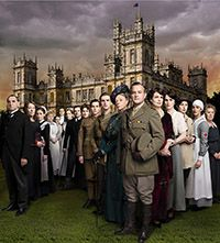 The cast of Downton Abbey outside Highclere Castle