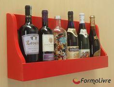 Prateleira Adega Suporte de Parede Suspenso para Vinhos e Bebidas Madeira - Vermelho Laca