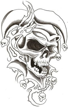 skull jester 1 by thelob traditional art drawings other 2009 2014 Tattoo Design Drawings, Skull Tattoo Design, Skull Design, Tattoo Sketches, Tattoo Designs, Wolf Tattoos, Finger Tattoos, Body Art Tattoos, Sleeve Tattoos