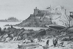 Historic 1827 illustration of Castle Hill in Old Sitka, which later became the American Flag Raising Site, an imposing fortification on a hill overlooking the water and Tlingit areas. In Alaska