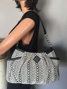Vera Wang Simply Vera Bag Purse Designer Fashion Black White Cotton | eBay