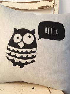 hello ollie cushion by Mabelandbird