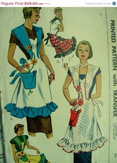 ON SALE Vintage McCall 1950 Pinafore style Novelty by anne8865, $24.64