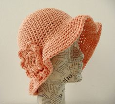 Flower crochet spring summer hat in salmon