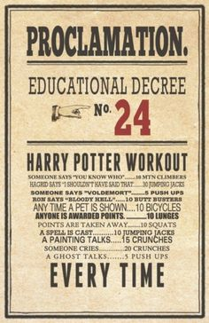 harry potter workout. Sorry, when HP is on, I watch it, not exercise.