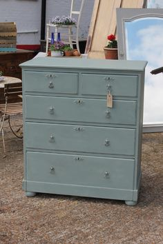 Chest of drawers renovated and painted in Annie Sloan Chalk Paint TM in Duck Egg Blue