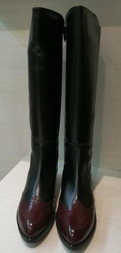 1aabf8d59 Bota plana Cayetano Giménez combinado negro burdeos Zapatos Españoles
