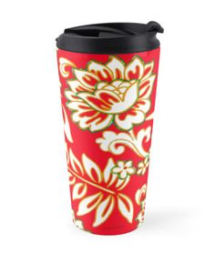 """""""Tropical Eggnog Punch"""" Travel Mugs by PolkaDotStudio 