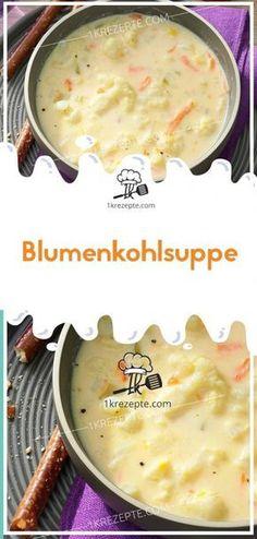 Blumenkohlsuppe Ingredients: 1 small cauliflower salt 40 g butter or margarine 1 egg yolk 4 ta Crock Pot Recipes, Pork Recipes, Snack Recipes, Healthy Recipes, Dinner Recipes, Cauliflower Soup, Cauliflower Recipes, Shrimp Recipes, Pasta Recipes