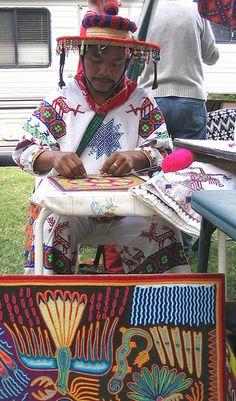 Huichol Man Yarn Painting. Mexico