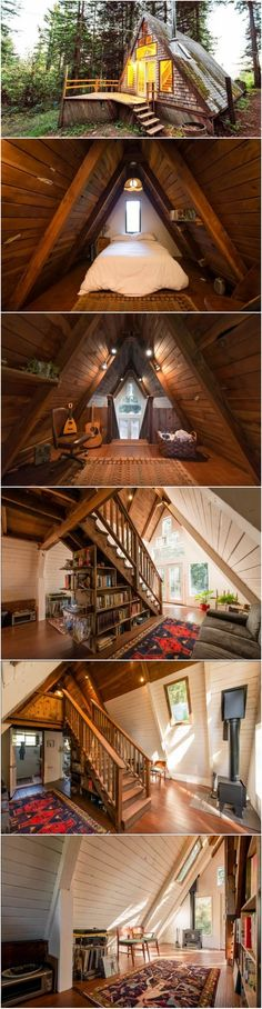 A-Frame Cabin In The Woods Tiny House Design aFrame cabin Woods Tiny House Cabin, Tiny House Living, Tiny House Design, Small House Plans, Cabin Homes, Tiny Homes, A Frame Cabin, A Frame House, California Home Decor