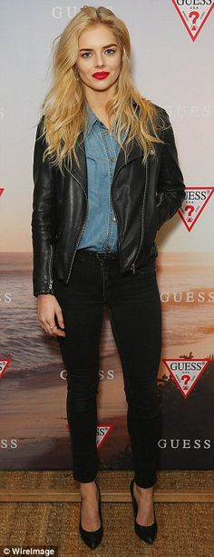 Bucking a trend: Samara Weaving stood out by virtue of her decision to wear jeans...